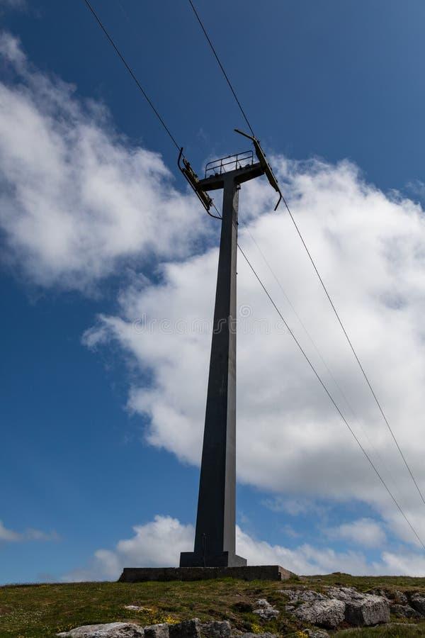 Большая распорка металла в земле задерживая линии фуникулера на большем Orme Llandudno северном Уэльс мае 2019 стоковое фото rf