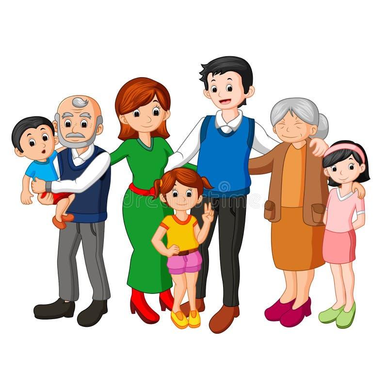 Большая семья совместно бесплатная иллюстрация