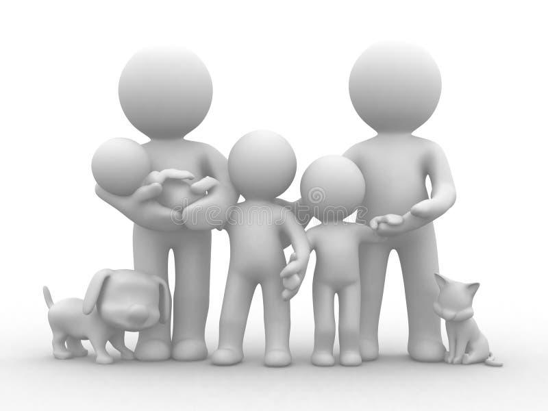 большая семья иллюстрация штока