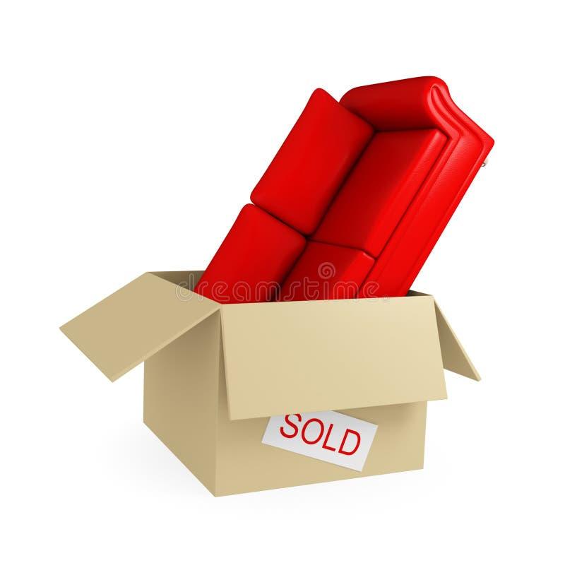 большая софа красного цвета картона коробки бесплатная иллюстрация