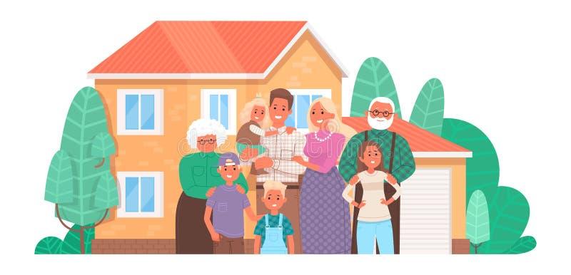 Большая счастливая семья на предпосылке дома Родители и дети, деды совместно Покупающ или строящ дом иллюстрация вектора