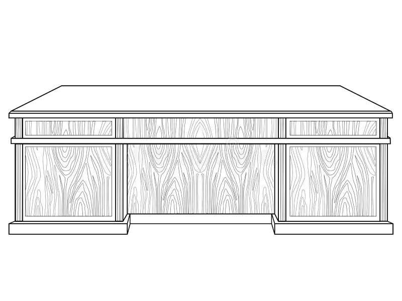 большая таблица деревянная Таблица офиса вождя Линейное изображение для красить иллюстрация штока