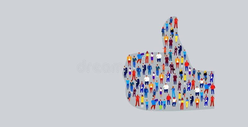 Большая толпа предпринимателей в большом пальце руки вверх как бизнесмены формы стоя совместно община средств массовой информации иллюстрация вектора