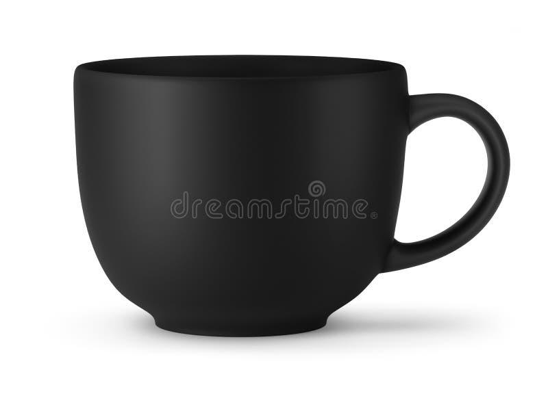 Большая черная чашка изолированная на белой предпосылке иллюстрация штока