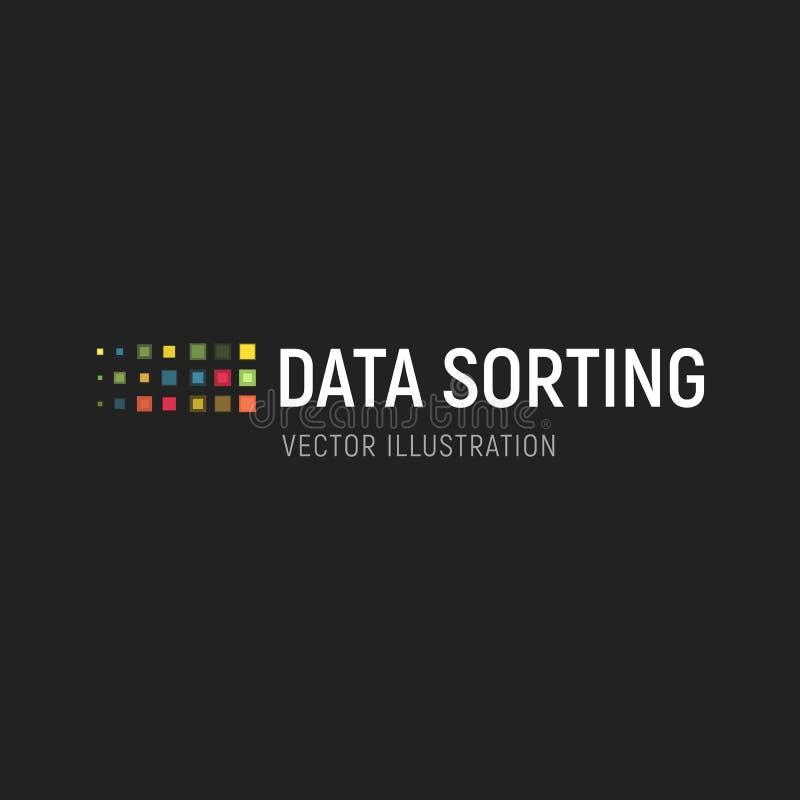 Большая эмблема вектора базы данных Данные сортируя геометрический значок Информация сортируя абстрактный логотип Цифровая технол иллюстрация вектора