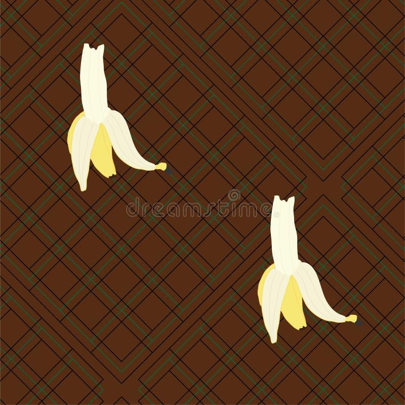 Большие бананы на предпосылке шотландки иллюстрация вектора