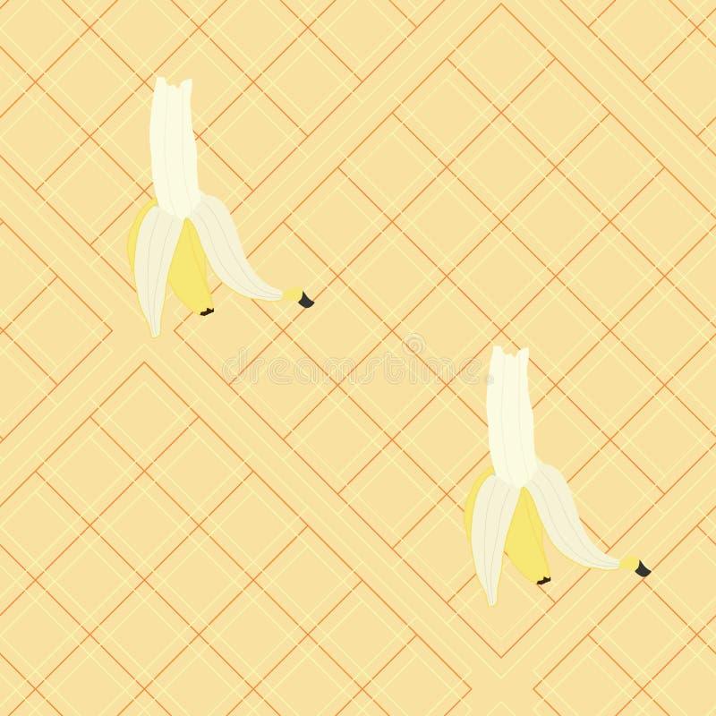 Большие бананы на светлом - желтая шотландка бесплатная иллюстрация