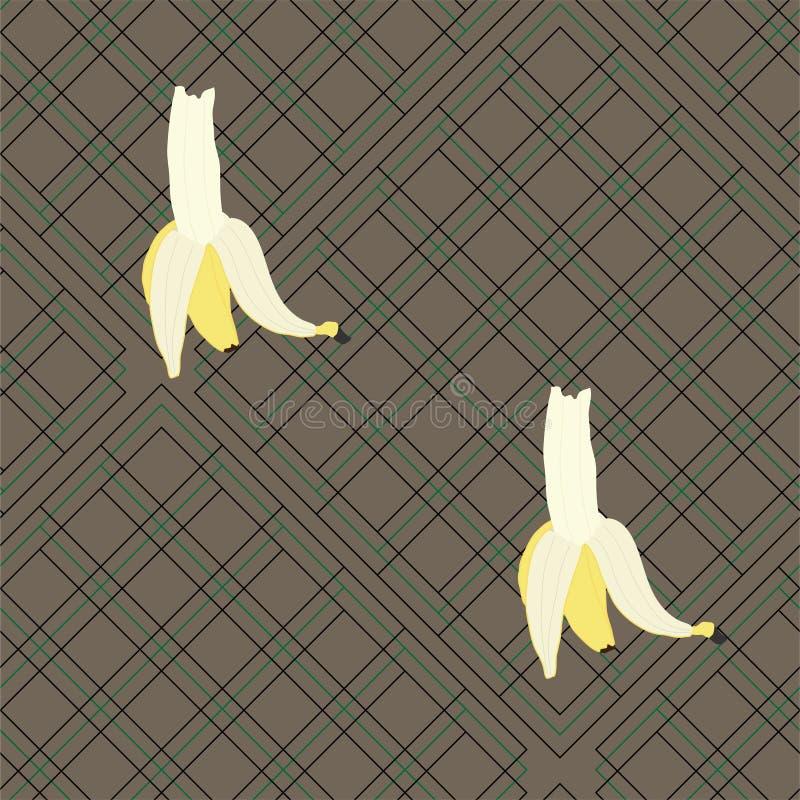 Большие бананы на шотландке иллюстрация штока
