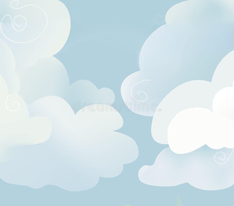 Большие белые облака на голубом небе бесплатная иллюстрация