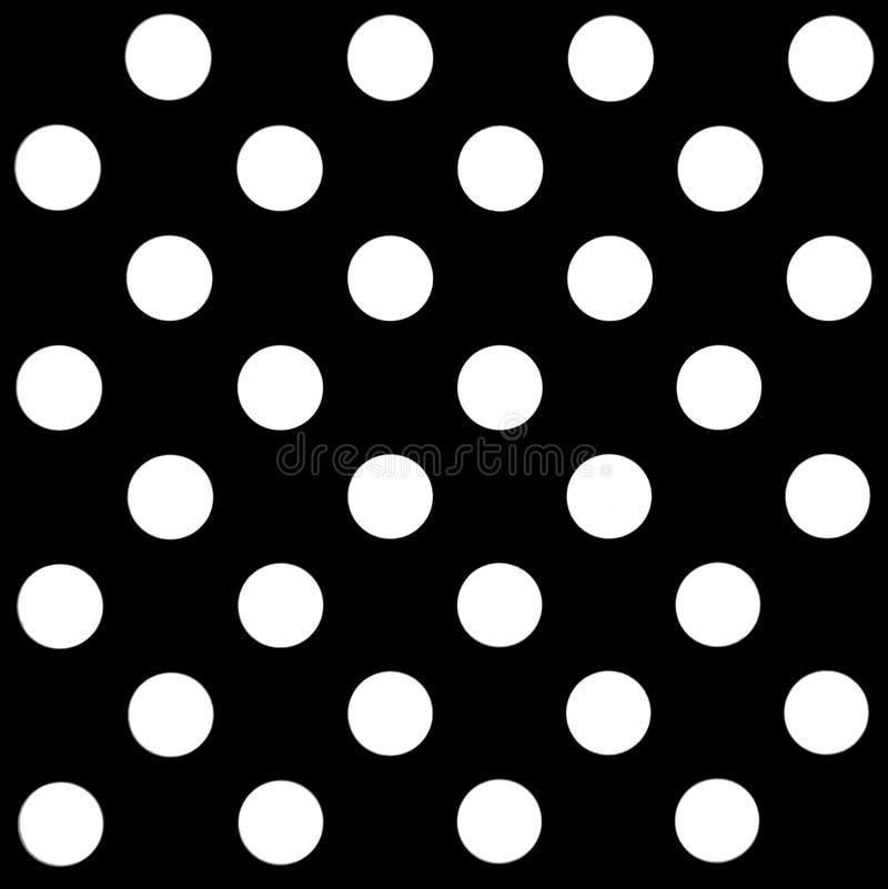 Большие белые точки польки на черной, безшовной картине иллюстрация вектора
