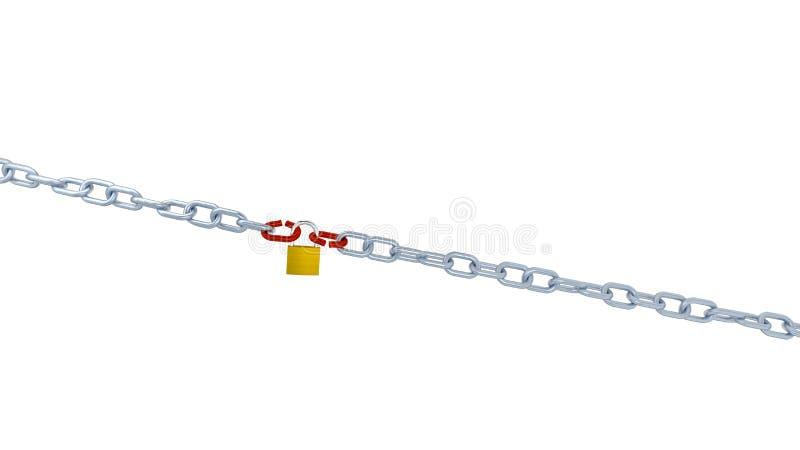 Большие взгляд 2 длинных цепей с связью 2 красных цветов и запертый с бесплатная иллюстрация