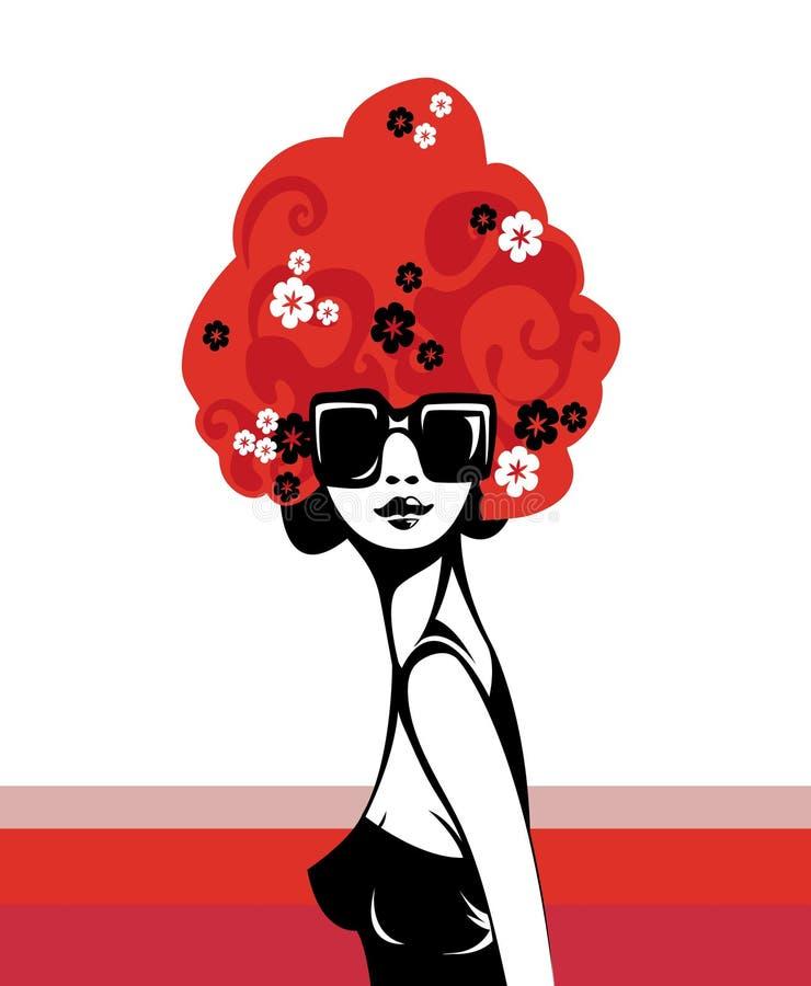 Download большие волосы ретро иллюстрация штока. иллюстрации насчитывающей красно - 3403841