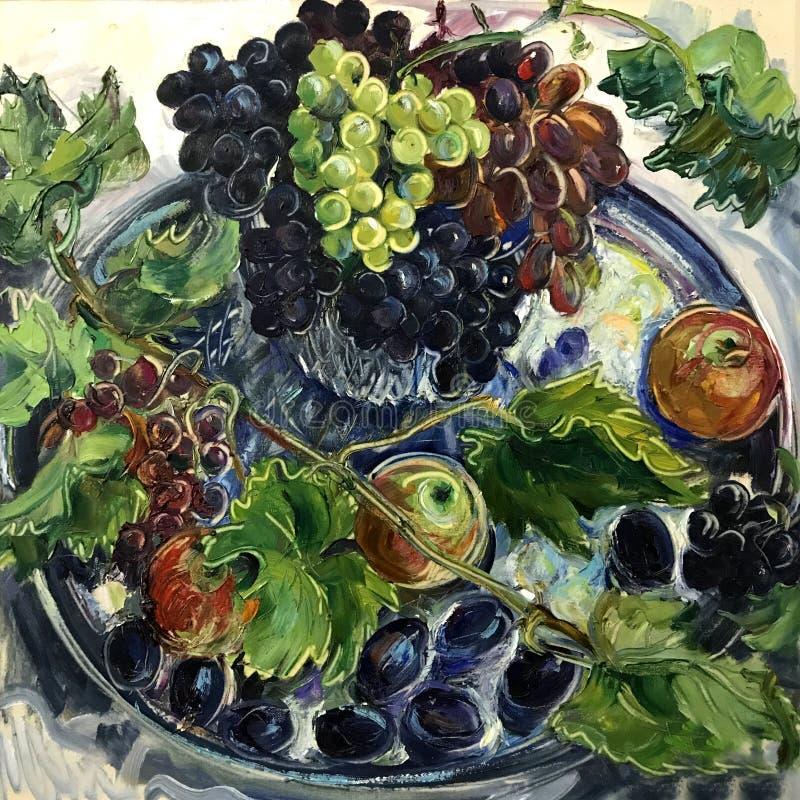 Большие голубые фиолетовые зеленые виноградины бесплатная иллюстрация