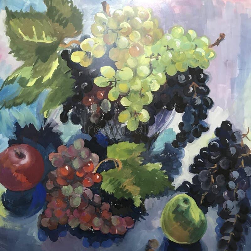 Большие голубые фиолетовые зеленые виноградины иллюстрация вектора