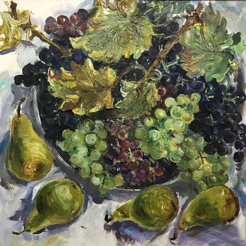 Большие голубые фиолетовые зеленые виноградины иллюстрация штока