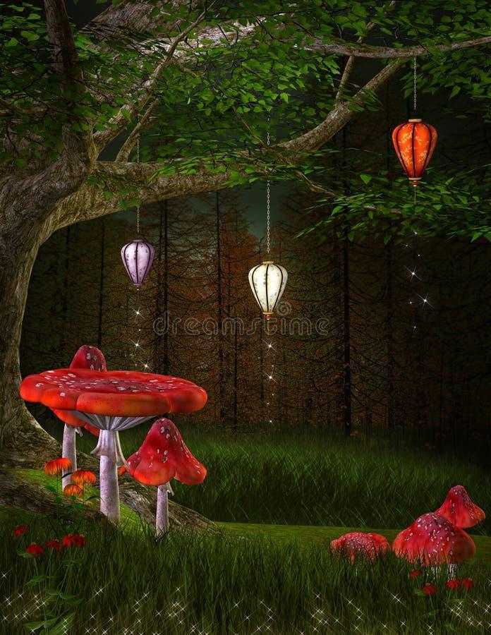 Большие грибы фантазии в полесье бесплатная иллюстрация