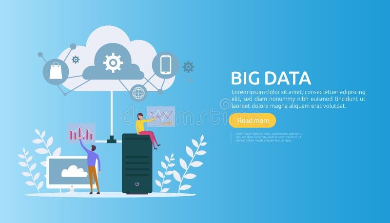 большие данные и анализ обрабатывая шаблон страницы концепции приземляясь обслуживание базы данных облака, шкаф комнаты сервера р бесплатная иллюстрация