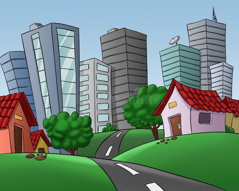 большие дома города иллюстрация штока
