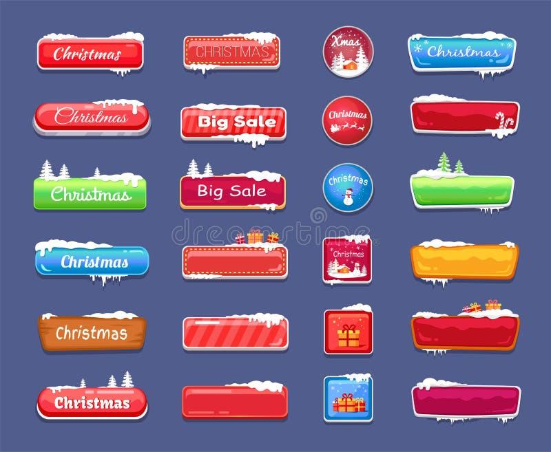 Большие кнопки продажи рождества для страниц интернета иллюстрация штока