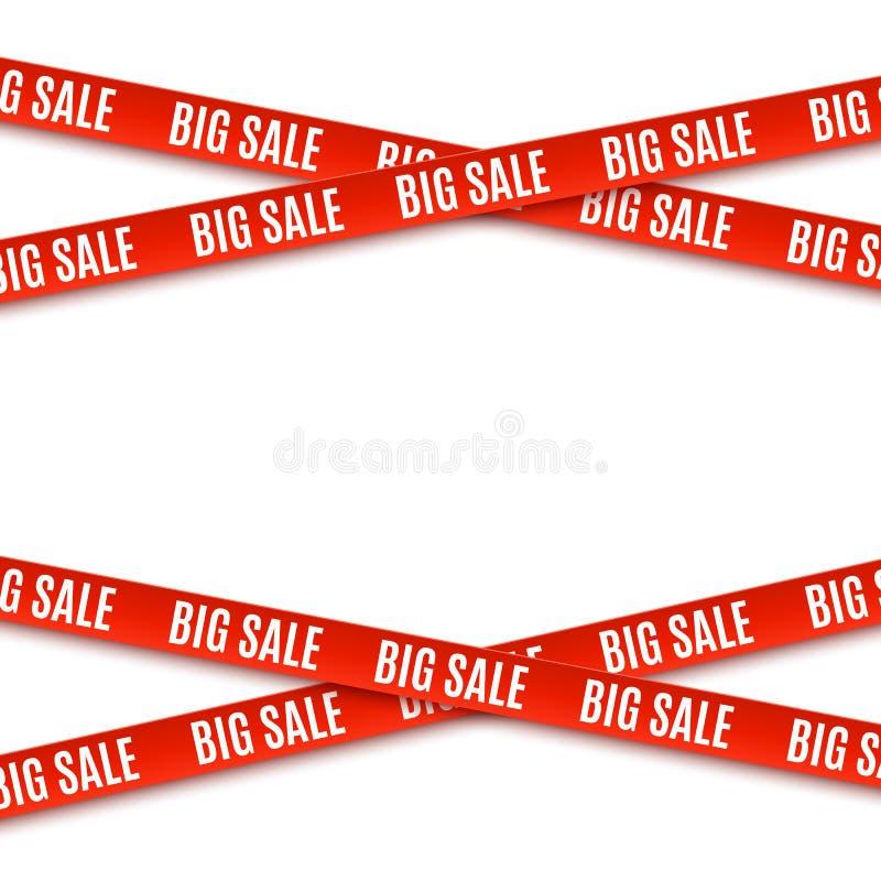 Большие Красные знамена продажи ленты изолированные на белой предпосылке иллюстрация вектора