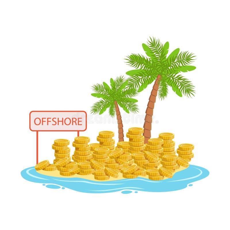 Большие кучи золотых монеток лежа на тропическом острове, иллюстрации вектора концепции оффшорных банковских дел иллюстрация вектора