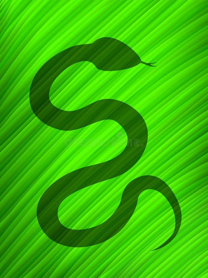 большие листья над змейкой тени иллюстрация вектора