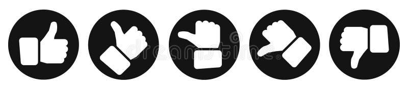 Большие пальцы руки валюации, черные кнопки - вектор иллюстрация вектора