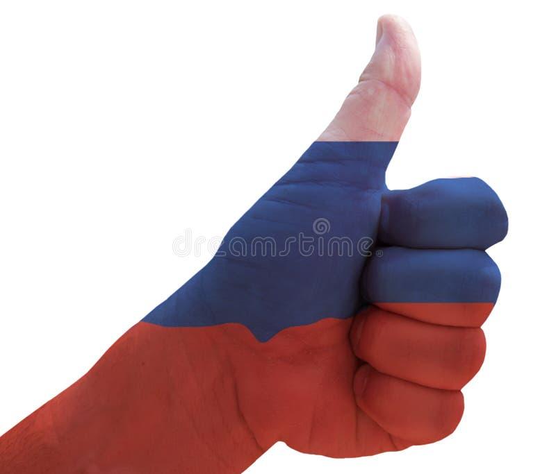 Большие пальцы руки вверх для России стоковое фото rf