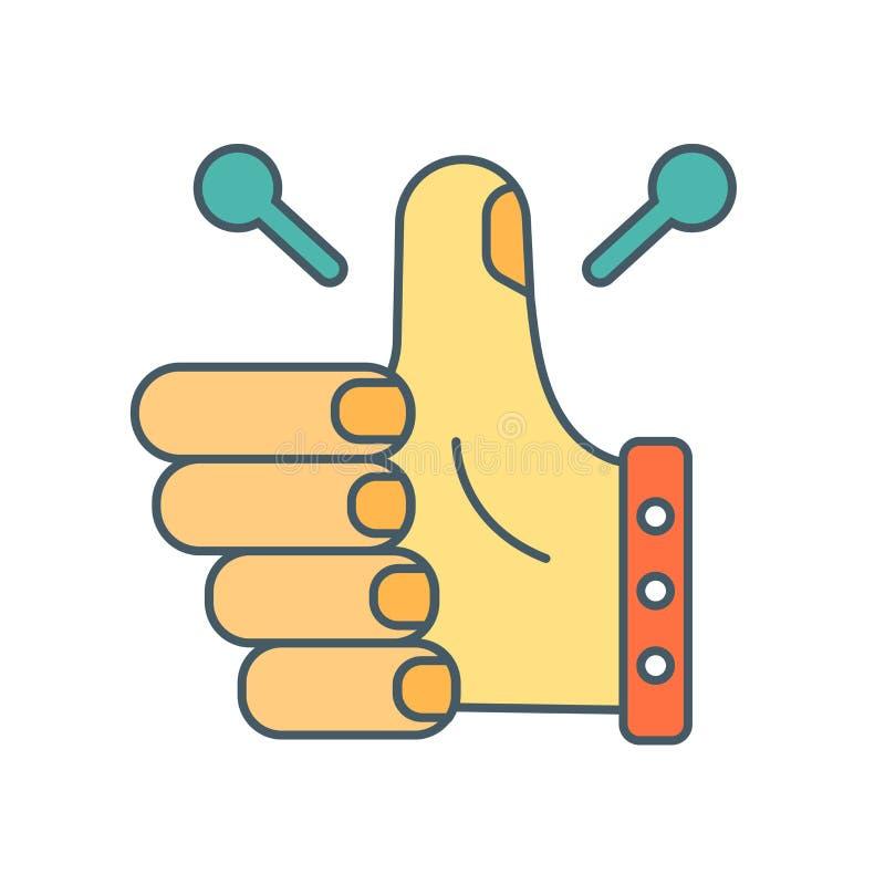 Большие пальцы руки вверх по вектору значка изолированные на белой предпосылке, больших пальцах руки вверх по знаку бесплатная иллюстрация
