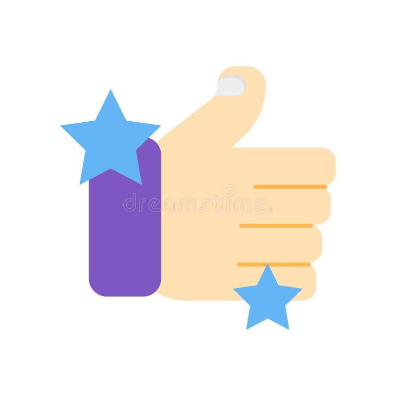 Большие пальцы руки вверх по значку vector изолированный на белой предпосылке, больших пальцах руки вверх по si иллюстрация штока