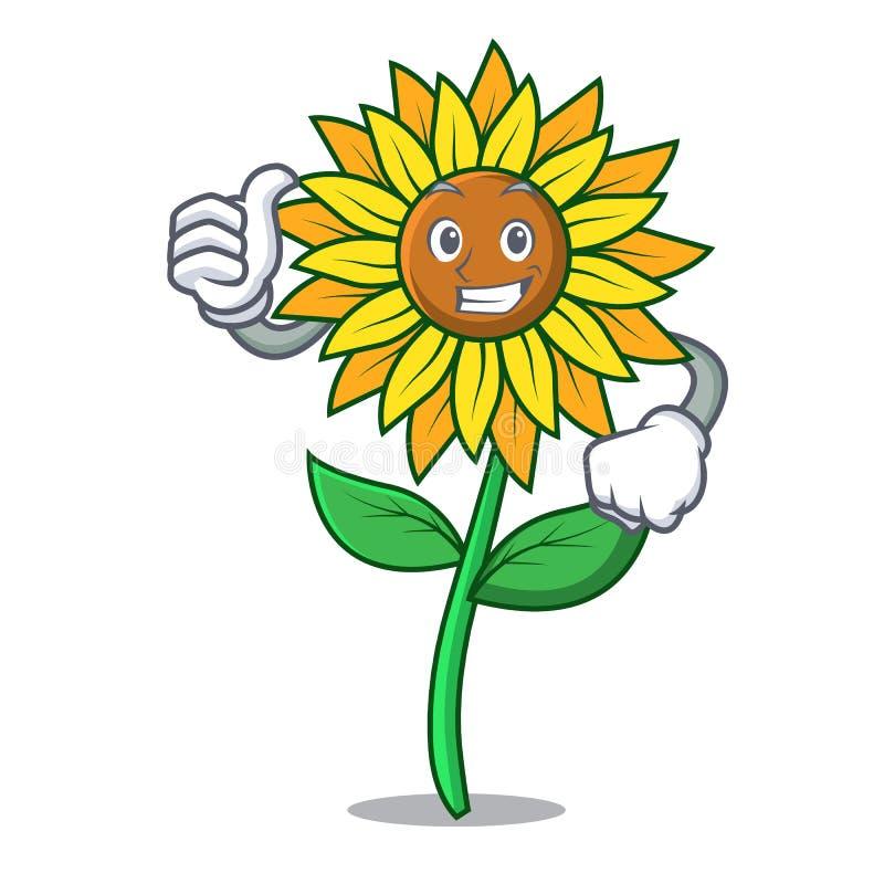 Большие пальцы руки вверх по стилю шаржа характера солнцецвета иллюстрация вектора