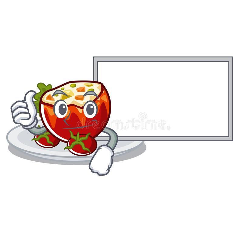 Большие пальцы руки вверх с доской заполнили томаты положенные на плиты характера иллюстрация штока