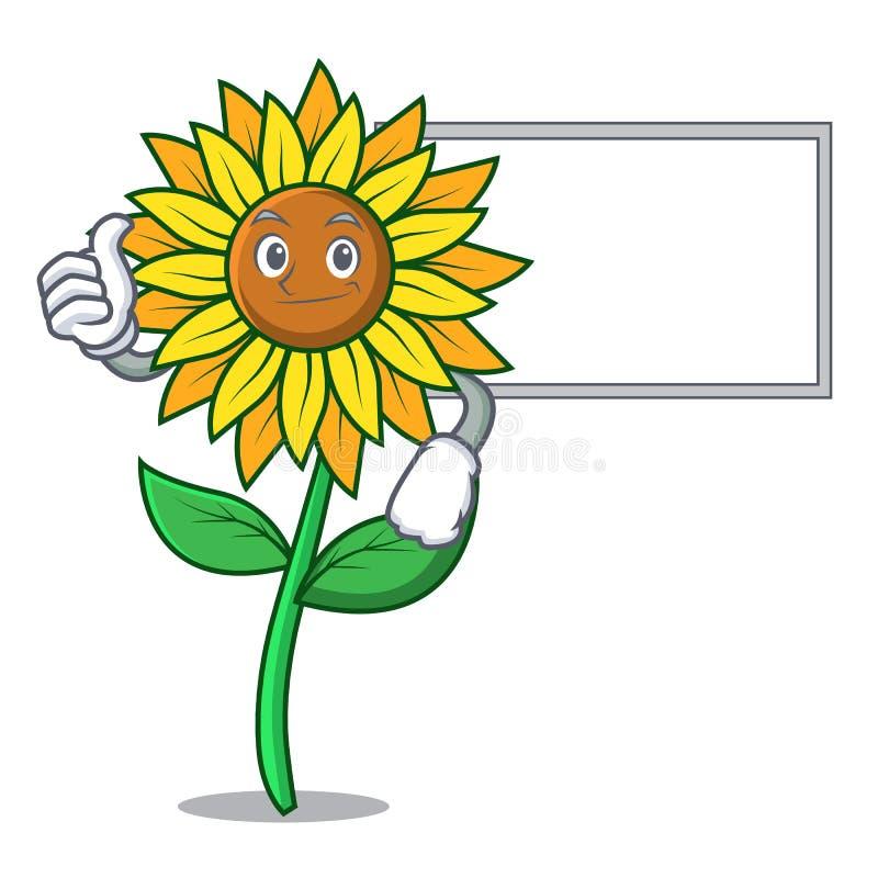 Большие пальцы руки вверх с стилем шаржа характера солнцецвета доски бесплатная иллюстрация