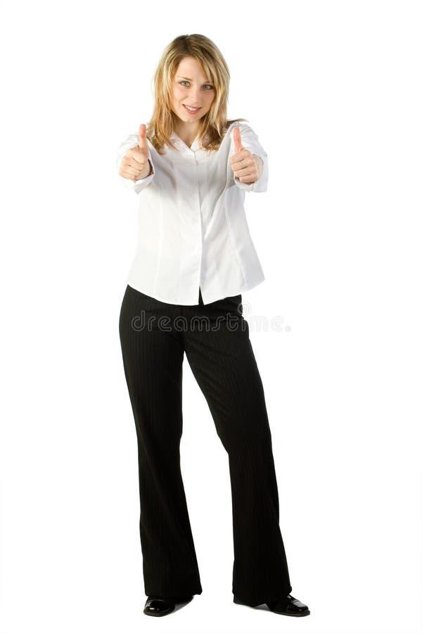 большие пальцы руки поднимают женщину стоковая фотография