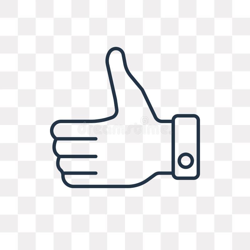 Большие пальцы руки поднимают значок вектора изолированный на прозрачной предпосылке, линейной иллюстрация штока