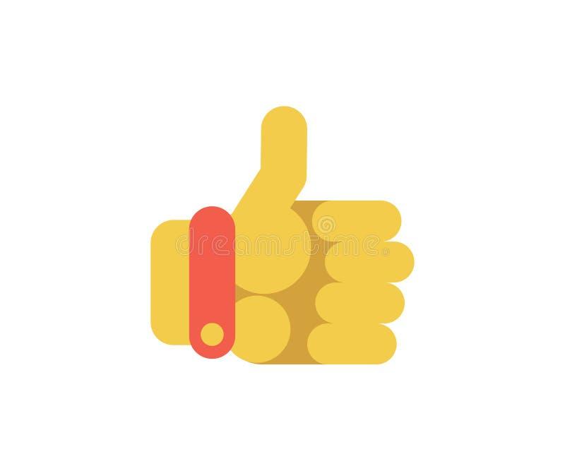 Большие пальцы руки поднимают значок руки Иллюстрация вектора в плоском минималистичном стиле бесплатная иллюстрация