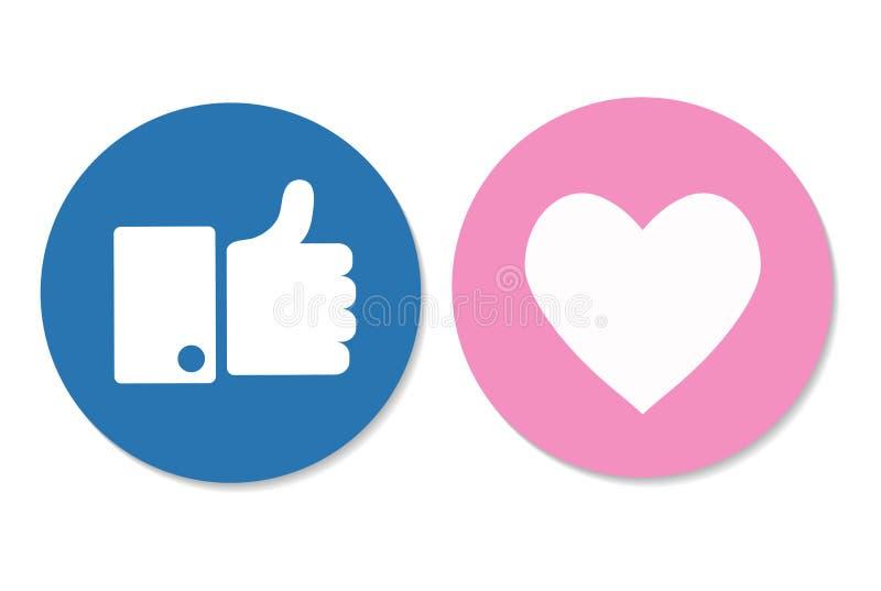 Большие пальцы руки поднимают и значок сердца на белой предпосылке социальное ico средств массовой информации бесплатная иллюстрация