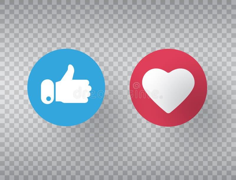 Большие пальцы руки поднимают и значок сердца на прозрачной предпосылке Социальный символ сети Встречные значки уведомления образ иллюстрация штока