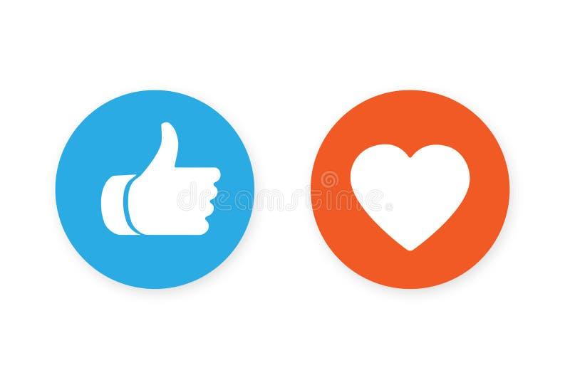Большие пальцы руки поднимают и значок сердца иллюстрация вектора