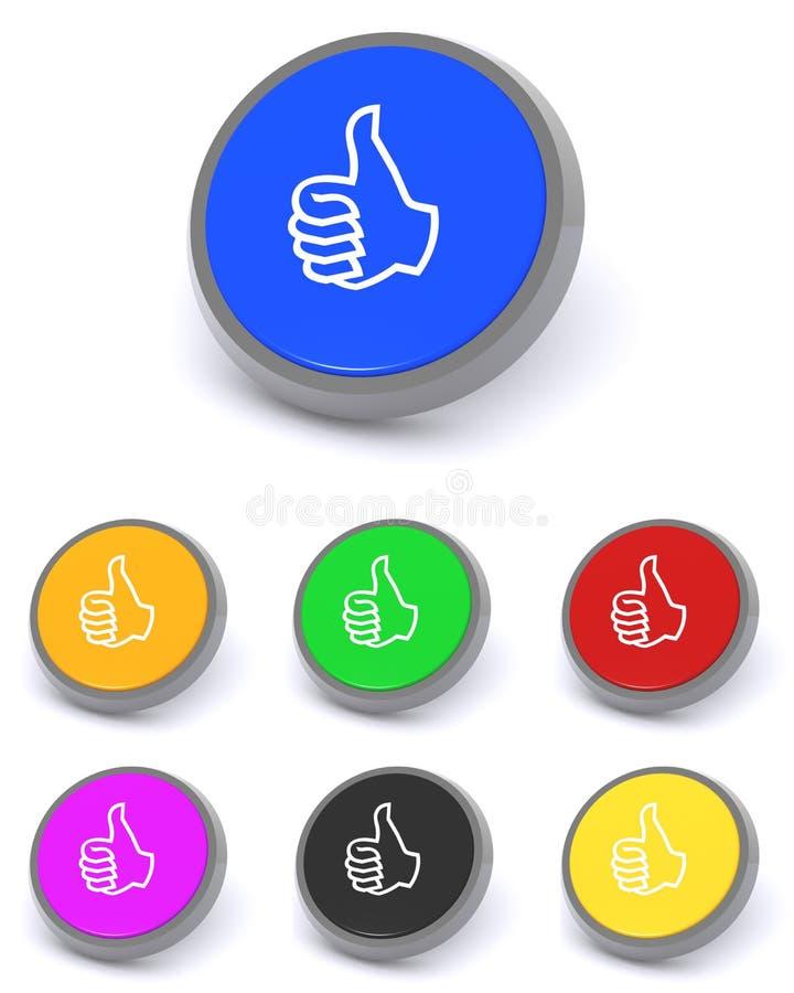 Большие пальцы руки поднимают кнопки иллюстрация вектора