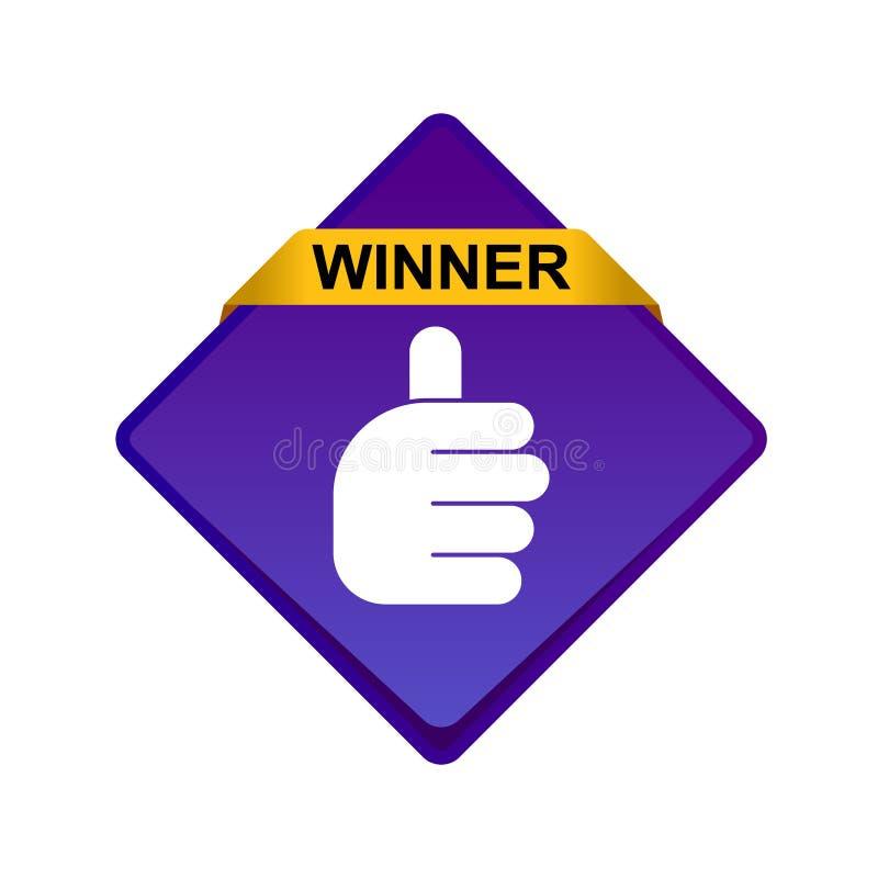 Большие пальцы руки поднимают кнопку победителя знака иллюстрация вектора