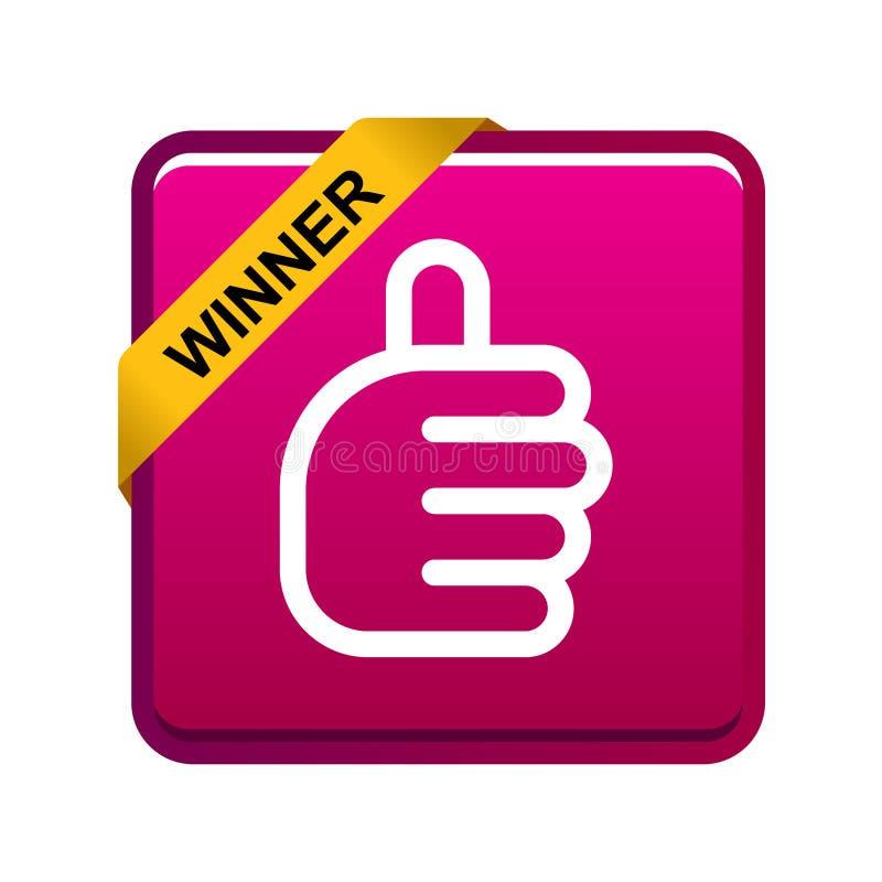 Большие пальцы руки поднимают кнопку победителя знака иллюстрация штока