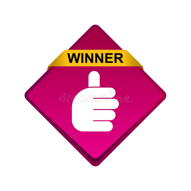 Большие пальцы руки поднимают кнопку победителя знака бесплатная иллюстрация