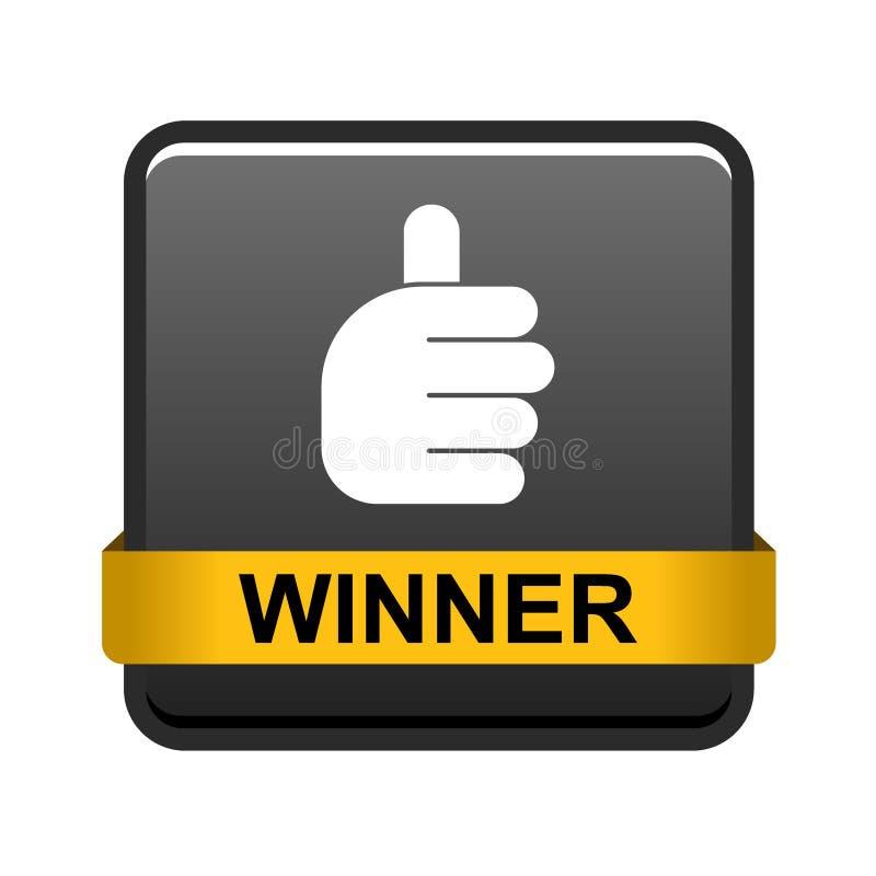 Большие пальцы руки поднимают кнопку победителя бесплатная иллюстрация