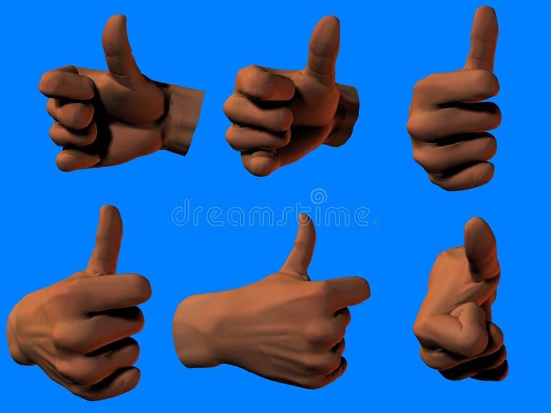 большие пальцы руки поднимают различное иллюстрация вектора