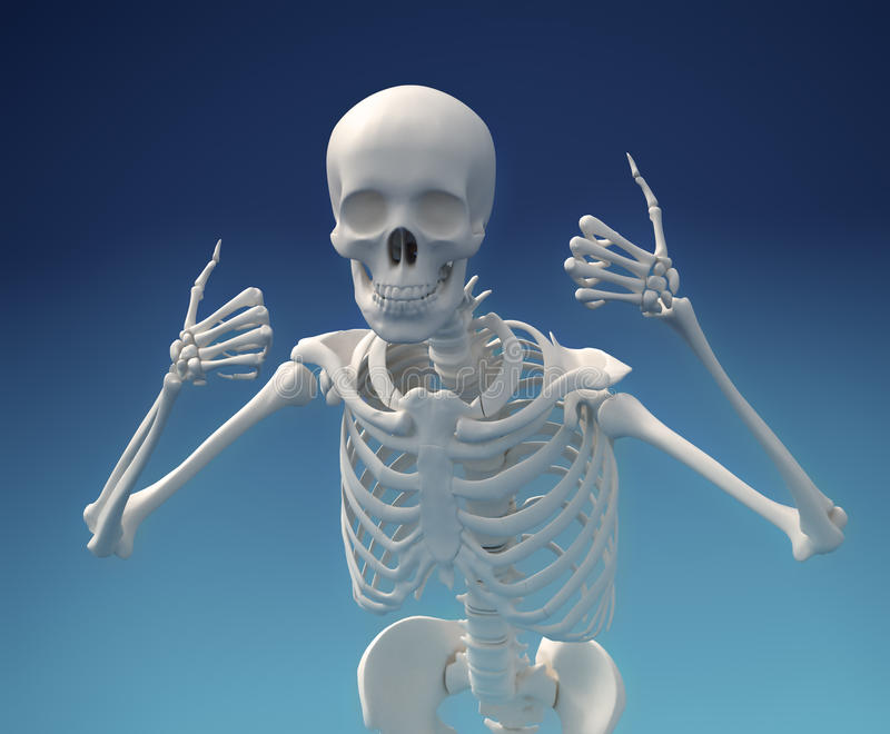 Большие пальцы руки поднимают скелет! иллюстрация вектора