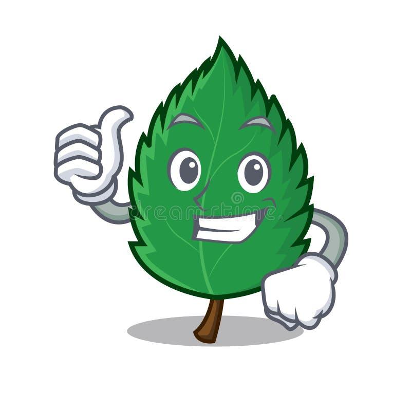 Большие пальцы руки поднимают шарж характера листьев мяты иллюстрация штока