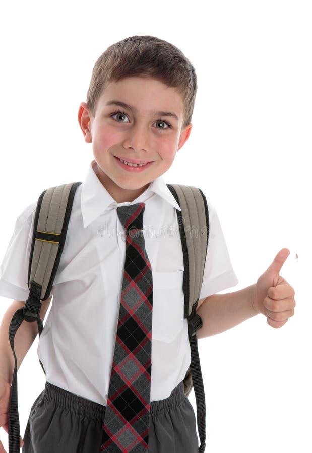 большие пальцы руки школьника вверх стоковая фотография rf