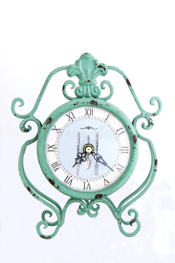 Большие ретро часы - зеленый будильник стоковое изображение