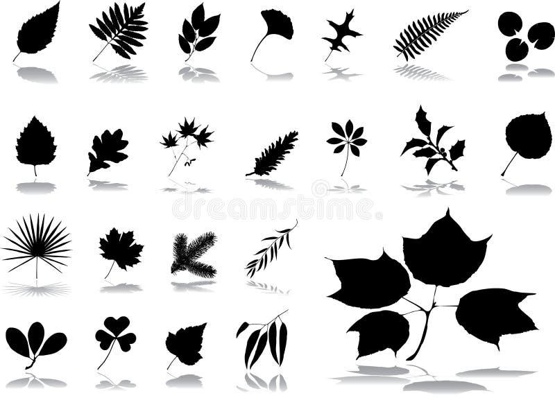 большие установленные листья икон 1 иллюстрация штока